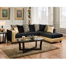 Riverstone Implosion Black Velvet Sectional with Black & Shimmer Gold Frame
