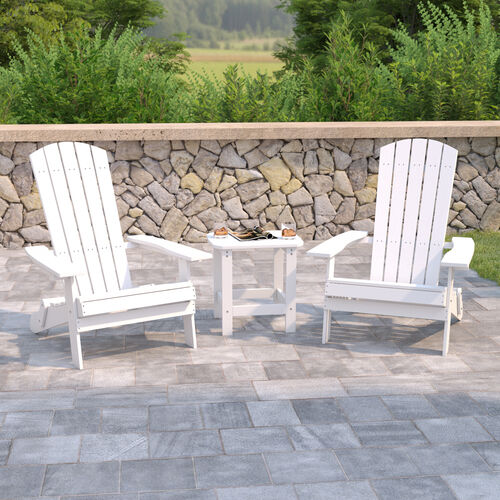 2 Pack Charlestown All-Weather Poly Resin Folding Adirondack Chairs with Side Table in White