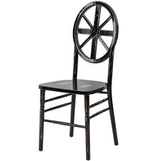 Veronique Series Stackable Wagon Wood Dining Chair - Lime Black Wash