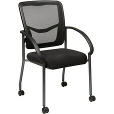 Pro-Line II ProGrid® Titanium Finish Visitors Chair with Armrests and Casters - Black
