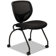Basyx® VL302 Series Mesh Back Nesting Chairs with Casters - Set of Two - Black