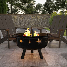 """29"""" Round Wood Burning Firepit with Mesh Spark Screen"""