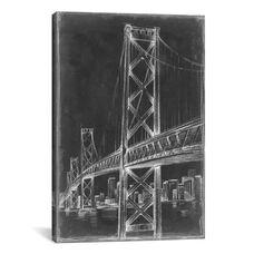 Suspension Bridge Blueprint II by Ethan Harper Gallery Wrapped Canvas Artwork