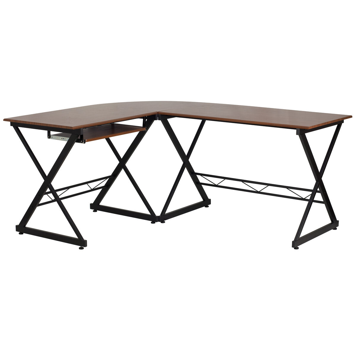 Our Teakwood Laminate L Shape Computer Desk With Pull Out Keyboard Tray Is On