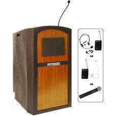 Pinnacle Wireless 150 Watt Sound and Microphone Full Height Lectern - Medium Oak Finish - 26
