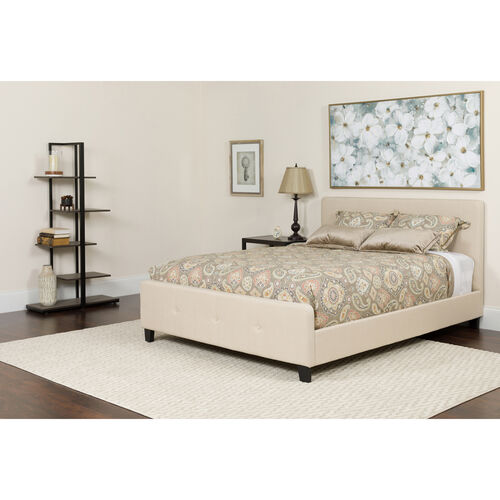 Tribeca Queen Size Tufted Upholstered Platform Bed in Beige Fabric with Memory Foam Mattress