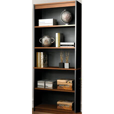 Innova 5 Shelf Bookcase with Adjustable Shelving - Tuscany Brown and Black