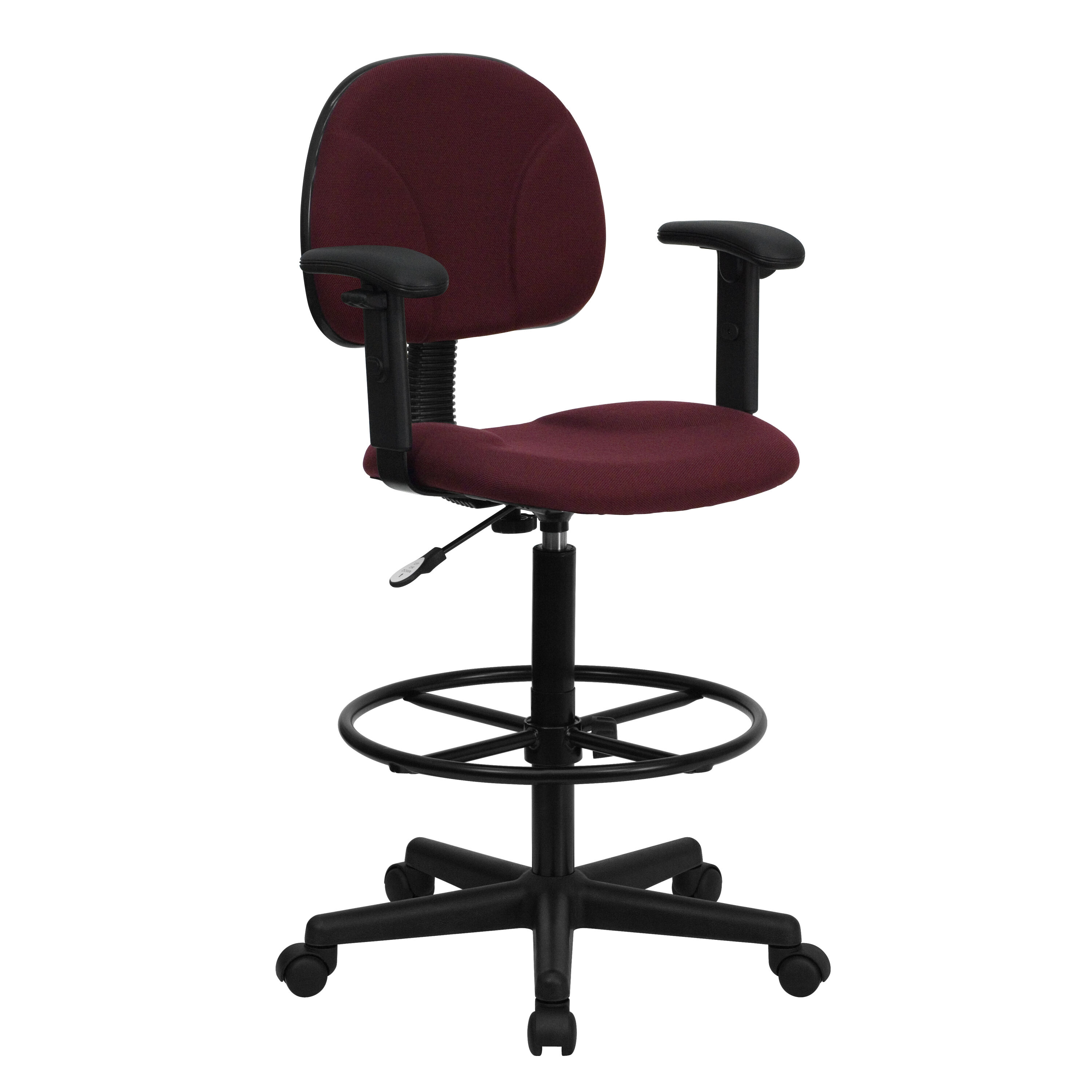 Delicieux ... Our Burgundy Fabric Drafting Chair With Adjustable Arms (Cylinders:  22.5u0027u0027 27 ...