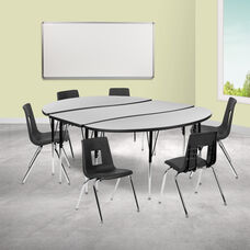 """86"""" Oval Wave Collaborative Laminate Activity Table Set with 18"""" Student Stack Chairs, Grey/Black"""