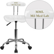 Personalized Vibrant White and Chrome Swivel Task Chair with Tractor Seat