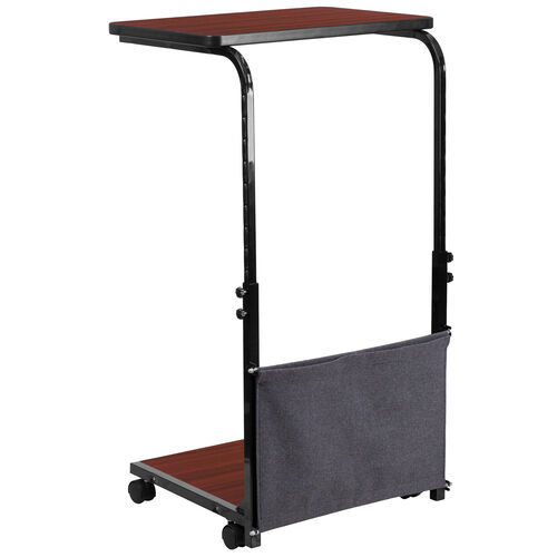Our Mobile Sit-Down, Stand-Up Mahogany Computer Ergonomic Desk with Removable Pouch (Adjustable Range 27