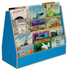 Blueberry Double Sided Rolling Book Display with Eight Shelves and Heavy Duty Casters - Assembled - 34