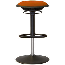 Jax Mesh Stool with Footrest and Round Seat - Orange