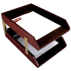 Classic Leather Double Front Load Legal Size Trays with Gold Posts - Mocha