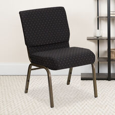 HERCULES Series 21''W Stacking Church Chair in Black Dot Patterned Fabric - Gold Vein Frame