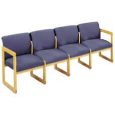 Classic Series Full Back 4 Seat Sofa with Sled Base