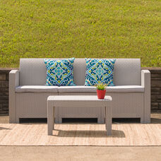 Light Gray Faux Rattan Sofa with All-Weather Light Gray Cushions