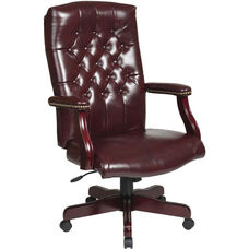 Work Smart Traditional Button Tufted Vinyl Executive Chair with Mahogany Finish Legs - Oxblood