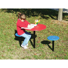 Preschool Outdoor Table and Two Seats with Ground Mounted Tubular Steel Bases and Polyethylene Finished Seats - 58
