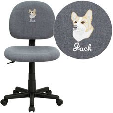 Embroidered Mid-Back Gray Fabric Swivel Task Chair