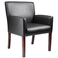 Mid Back Mahogany Finish Reception Box Arm Chair - Black