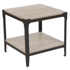 Northvale Collection Sonoma Oak Wood Finish End Table with Black Metal Legs