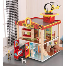 Kids Wooden Two Story Open Fire Station Play Set Includes 14 Pieces