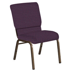 Embroidered 18.5''W Church Chair in Jewel Aubergine Fabric - Gold Vein Frame