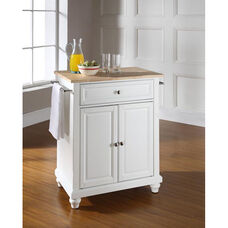 Natural Wood Top Portable Kitchen Island with Cambridge Feet - Maple and White Finish