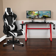 BlackArc Red Gaming Desk and Black Reclining Gaming Chair Set with Cup Holder and Headphone Hook
