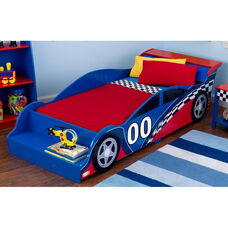 Racecar Themed Wooden Low Height Toddler Bed with Built in Safety Bed Rails