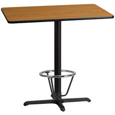 30'' x 42'' Rectangular Natural Laminate Table Top with 23.5'' x 29.5'' Bar Height Table Base and Foot Ring