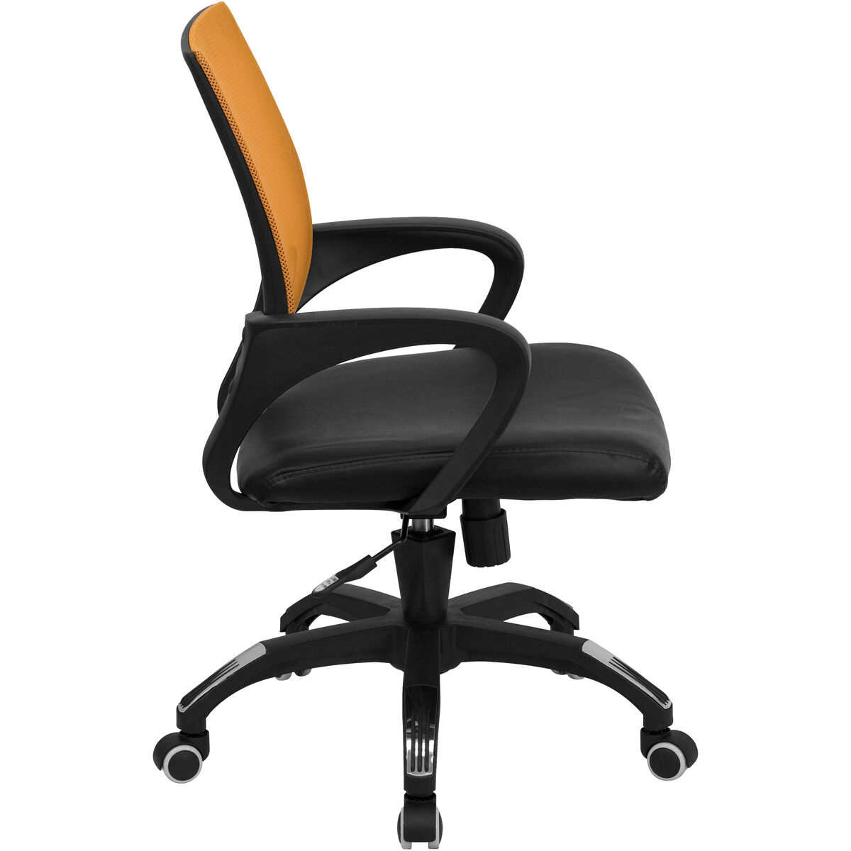 Our Mid Back Orange Mesh Swivel Task Chair With Black Leather Seat And Arms Is