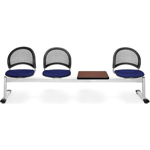 Our Moon 4-Beam Seating with 3 Navy Fabric Seats and 1 Table - Mahogany Finish is on sale now.