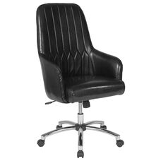 Albi Home and Office Upholstered High Back Chair in Black LeatherSoft