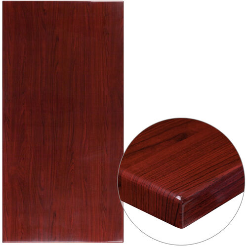"""Our 30"""" x 60"""" Rectangular High-Gloss Mahogany Resin Table Top with 2"""" Thick Edge is on sale now."""