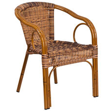 Cadiz Series Burning Brown Rattan Restaurant Patio Chair with Dark Red Bamboo-Aluminum Frame