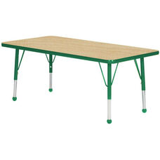 Adjustable Standard Height Laminate Top Rectangular Activity Table - Maple Top with Dustin Green Edge and Legs - 36