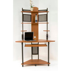 Arch Corner Tower 47.25''W x 24.75''D Storage Computer Work Station with Keyboard Tray - Pewter and Teak