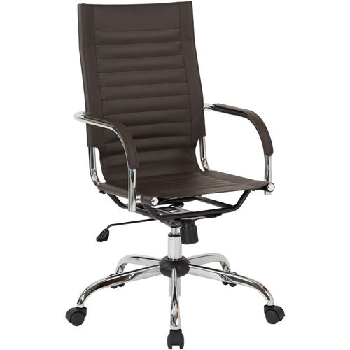 Our Ave Six Trinidad High Back Vinyl Office Chair With Chrome Base And Casters Espresso