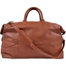 Euro Traveler Bag with Shoulder Strap - Milano Top Grain Leather - Tan