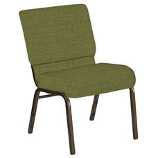 Embroidered 21''W Church Chair in Highlands Verdigris Fabric - Gold Vein Frame