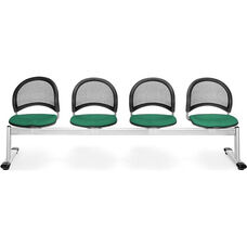 Moon 4-Beam Seating with 4 Fabric Seats - Shamrock Green