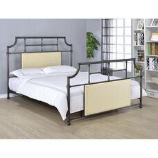 Xava Metal Bed with Beige Upholstered Inserts - Full - Antique Black