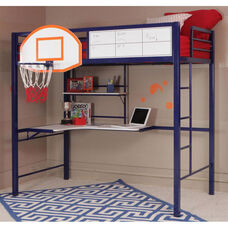 Hoops Basketball Twin Loft Bed with Desk - Blue and White