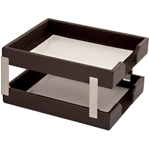 Our Bonded Leather Double Letter Trays - Dark Brown is on sale now.