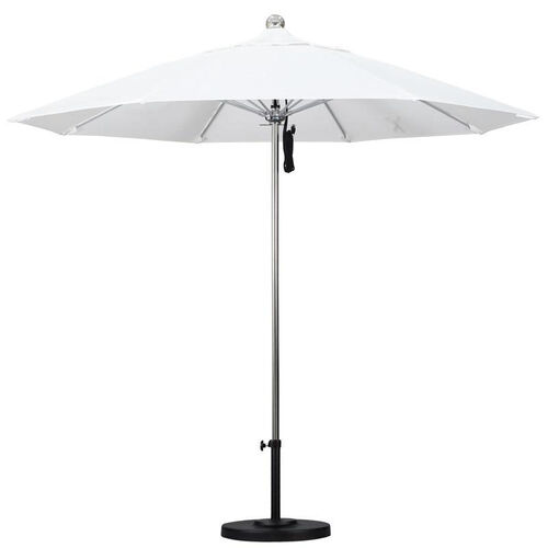 9 Ft. Stainless Steel Market Umbrella with Push Lift and Single Wind Vent - Silver Anodized Finish