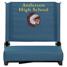 Embroidered Grandstand Comfort Seats by Flash with Ultra-Padded Seat in Teal