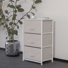 3 Drawer Vertical Storage Unit Dresser, Organizer with sturdy steel frame, wood top and easy to pull fabric drawers - White/Gray