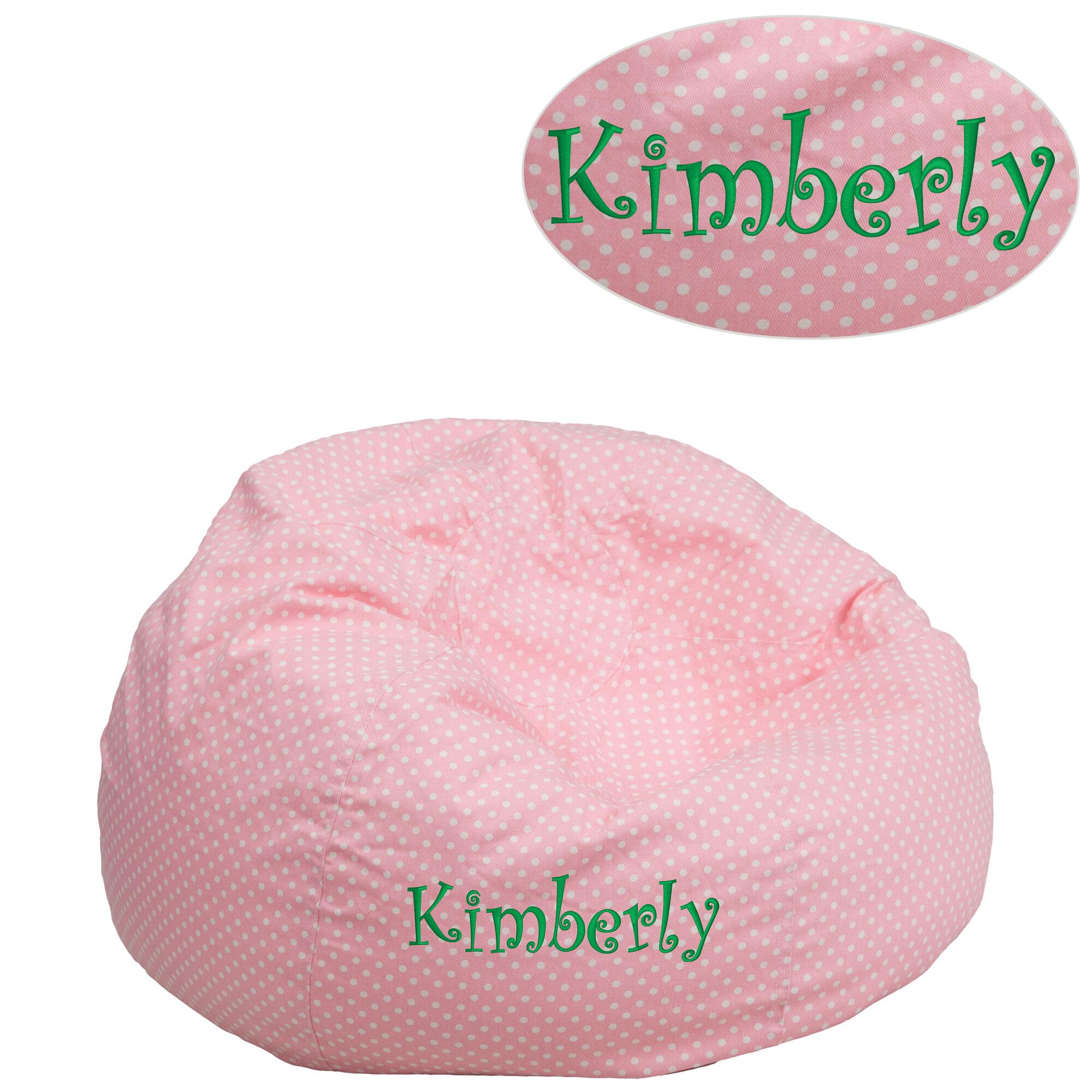 Emb Pink Dot Bean Bag Chair Dg Bean Small Dot Pk Emb Gg